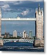 Helicopters And Tower Bridge Metal Print