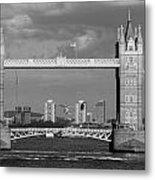 Helicopters Flying Through Tower Bridge Metal Print