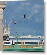Helicopters Tower Bridge Metal Print