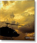 Helocopter In Clouds Metal Print
