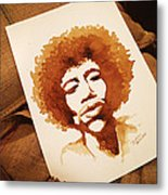 Hendrix Coffee Art Portrait Metal Print