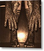 Henna Art On An Indian Bride Metal Print