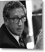 Henry Kissinger In A Meeting Following Metal Print