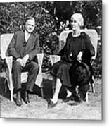 Herbert Hoover Seated With His Wife Metal Print