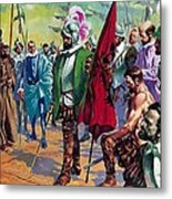 Hernando Cortes Arriving In Mexico In 1519 Metal Print