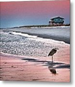 Heron And Beach House Metal Print