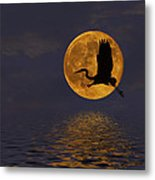 Heron And The Harvest Moon Metal Print