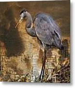 Heron Bronze Metal Print
