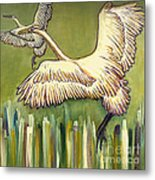 Wild Birds Flying Beautiful Nature Landscape Fine Art Prints Unique Spring Countryside Decoration  Metal Print