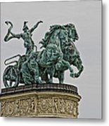 Heros Square Statue Metal Print