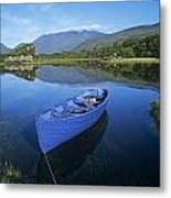 High Angle View Of A Boat In A Lake Metal Print