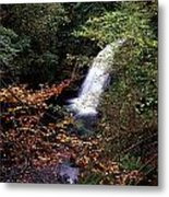 High Angle View Of A Waterfall, Glenoe Metal Print