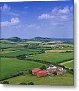 High Angle View Of Fields, Stradbally Metal Print
