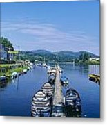 High Angle View Of Rowboats In The Metal Print