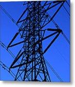 High Voltage Power Line Silhouette Metal Print