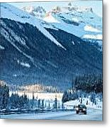 Highway In Winter Through Mountains Metal Print