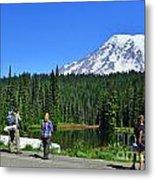 Hikers At Reflection Lake Metal Print
