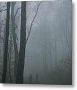 Hikers Enjoy A Foggy Outing On A Trail Metal Print