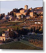 Hill Town Of Panzano At Dusk Metal Print by Jeremy Woodhouse