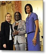 Hillary Clinton And Michelle Obama Metal Print by Everett