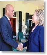 Hillary Clinton Meets With Haitian Metal Print