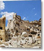 Hillside Cave Village And Ancient Township Metal Print