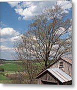 Hillside Weathered Barn Dramatic Spring Sky Metal Print