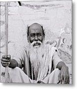Hindu Holyman In Benares Metal Print