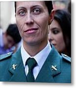 Hispanic Columbus Day Parade Nyc 11 9 11 Female Spanish Police O Metal Print