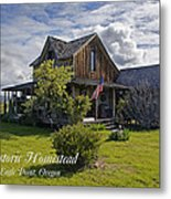 Historic 1870 Marvin Wood House With Text Metal Print