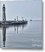 Historic Lighthouse On Lake Erie Metal Print