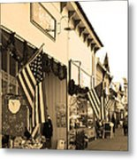 Historic Niles District In California Near Fremont . Main Street . Niles Boulevard . 7d10693 . Sepia Metal Print by Wingsdomain Art and Photography