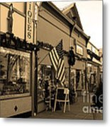 Historic Niles District In California Near Fremont . Main Street . Niles Boulevard . 7d10701 . Sepia Metal Print by Wingsdomain Art and Photography