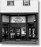 Historic Niles District In California Near Fremont . Niles Essanay Silent Film Museum . 7d10683 Bw Metal Print