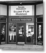 Historic Niles District In California Near Fremont . Niles Essanay Silent Film Museum . 7d10684 Bw Metal Print