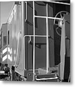 Historic Niles District In California Near Fremont . Western Pacific Caboose Train . 7d10622 . Bw Metal Print by Wingsdomain Art and Photography