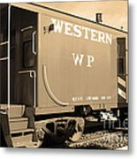 Historic Niles District In California Near Fremont . Western Pacific Caboose Train . 7d10627 . Sepia Metal Print by Wingsdomain Art and Photography
