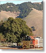 Historic Niles Trains In California . Old Southern Pacific Locomotive And Sante Fe Caboose . 7d10817 Metal Print