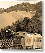 Historic Niles Trains In California.southern Pacific Locomotive And Sante Fe Caboose.7d10819.sepia Metal Print