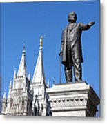 Historic Salt Lake Mormon Lds Temple And Brigham Young Metal Print