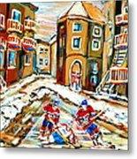 Hockey Art Hockey Game Plateau Montreal Street Scene Metal Print