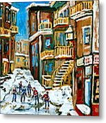 Hockey Art In Montreal Metal Print
