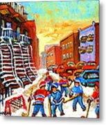 Hockey Art Kids Playing Street Hockey Montreal City Scene Metal Print