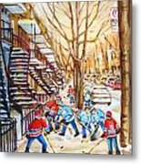 Hockey Game Near Winding Staircases Metal Print