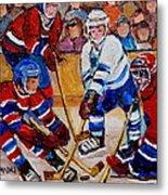Hockey Game Scoring The Goal Metal Print by Carole Spandau