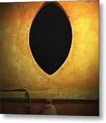 Hole In The Wall With Lamp Metal Print