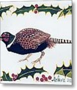 Holiday Pheasant Card Metal Print