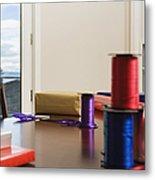 Holiday Ribbon On Table Metal Print