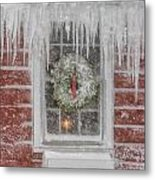 Holiday Wreath In Window With Icicles During Blizzard Of 2005 On Metal Print by Matt Suess