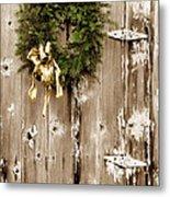 Holiday Wreath On The Farm Metal Print